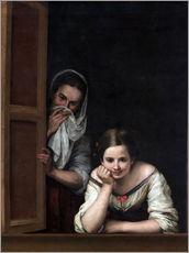 Selvklæbende plakat  Two Women at a Window - Bartolome Esteban Murillo