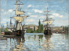 Galleritryk  Ships on the Seine at Rouen - Claude Monet