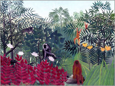 Selvklæbende plakat  Tropical Forest with Monkeys - Henri Rousseau