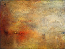 Selvklæbende plakat  Sun setting over a lake - Joseph Mallord William Turner
