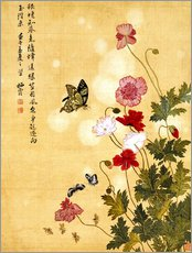 Selvklæbende plakat  Poppies and Butterflies - Ma Yuanyu