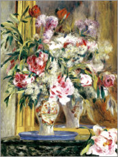 Lærredsbillede  Vase of flowers in front of the mirror - Pierre-Auguste Renoir