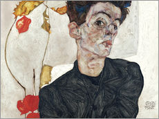 Galleritryk  Self-Portrait with Chinese Lantern Plant - Egon Schiele