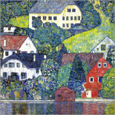 Lærredsbillede  Houses at Unterach on the Attersee - Gustav Klimt