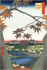 Selvklæbende plakat  The Maple Trees at Mama, Tekona Shrine and Tsugi Bridge - Utagawa Hiroshige