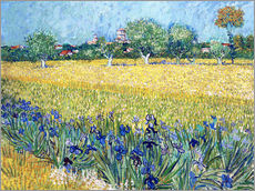 Selvklæbende plakat  View of Arles with irises in the foreground - Vincent van Gogh