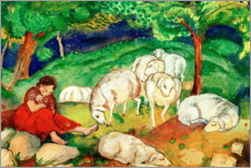 Lærredsbillede  Shepherdess with sheep - Franz Marc