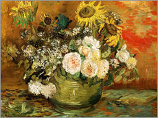 Galleritryk  Roses and sunflowers - Vincent van Gogh