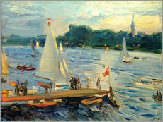 Galleritryk  Sailboats on the Alster Lake in the evening - Max Slevogt