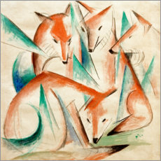 Lærredsbillede  Four foxes - Franz Marc