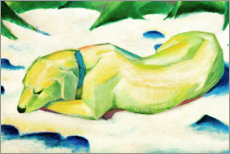 Akrylbillede  Dog Lying in the Snow - Franz Marc