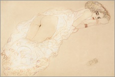 Galleritryk  Reclining Nude Lying on Her Stomach and Facing Right - Gustav Klimt