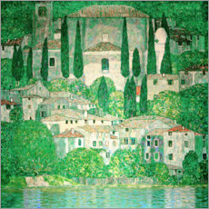 Akrylbillede  Church in Cassone ? Landscape with Cypresses - Gustav Klimt