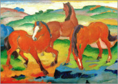 Print på træ  Grazing horses IV (The Red Horses) - Franz Marc