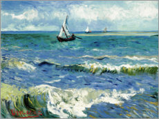 Lærredsbillede  The Sea at Saintes-Maries-de-la-Mer - Vincent van Gogh
