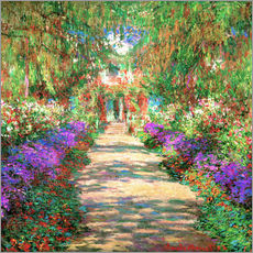 Selvklæbende plakat  A pathway in Monet's Garden at Giverny - Claude Monet