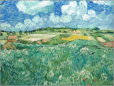 Selvklæbende plakat  Plain near Auvers sur Oise with rain clouds - Vincent van Gogh