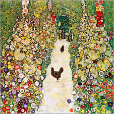Galleritryk  Garden Path with Chickens - Gustav Klimt