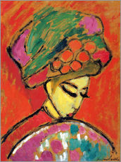 Selvklæbende plakat  Young Girl in a Flowered Hat - Alexej von Jawlensky