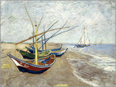 Selvklæbende plakat  Fishing Boats on the Beach at Saintes-Maries - Vincent van Gogh