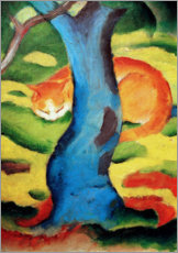 Lærredsbillede  Cat behind a tree - Franz Marc