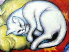 Print på aluminium  The White Cat (Tom Cat on Yellow Pillow) - Franz Marc