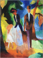 Selvklæbende plakat  People at the blue lake - August Macke