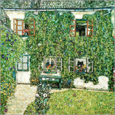 Lærredsbillede  Forester's house in Weissenbach on Attersee lake - Gustav Klimt