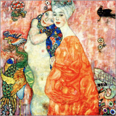 Akrylbillede  Girlfriends Or Two Women Friends - Gustav Klimt