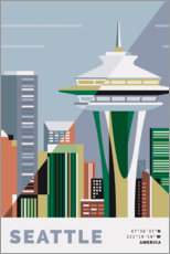 Selvklæbende plakat space needle seattle