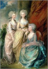 Selvklæbende plakat  Daughters of George III - Charlotte, Augusta and Elizabeth - Thomas Gainsborough
