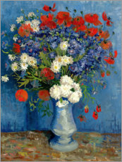 Print på aluminium  Vase with Cornflowers and Poppies - Vincent van Gogh