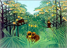 Selvklæbende plakat  Apes in the orange grove - Henri Rousseau