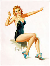 Selvklæbende plakat  Pin Up - Seated Redhead in Swimsuit - Al Buell