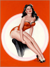 Galleritryk  Brunette in Red Bathing Suit - Peter Driben