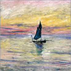 Selvklæbende plakat  Sailboat evening - Claude Monet