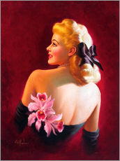Galleritryk  Glamour Pin Up with Pink Orchids - Art Frahm
