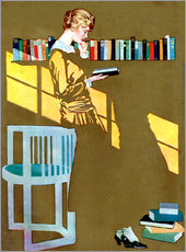 Galleritryk  Reading in front of the bookshelf - Clarence Coles Phillips
