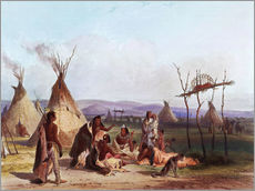 Galleritryk  Funeral scaffold of a Sioux chief - Karl Bodmer