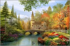 Galleritryk  The secluded church in autumn - Dominic Davison