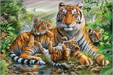 Galleritryk  Tiger and Cubs - Adrian Chesterman