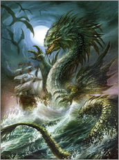 Selvklæbende plakat  The sea serpent - Dragon Chronicles