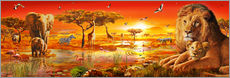 Selvklæbende plakat  Savanna Sundown - Adrian Chesterman