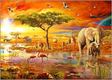 Selvklæbende plakat  Savanna Pool - Adrian Chesterman