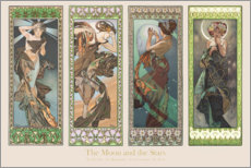 Selvklæbende plakat  The moon and the stars - decorativ - Alfons Mucha