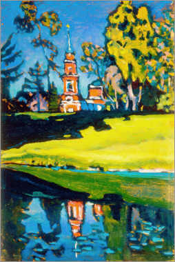 Selvklæbende plakat  Red Church - Wassily Kandinsky