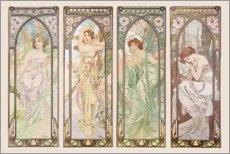Selvklæbende plakat  Times of the day - Alfons Mucha