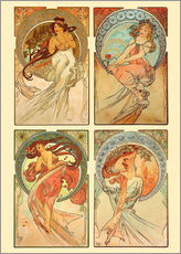 Galleritryk  The four arts, collage - Alfons Mucha
