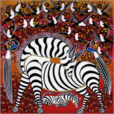 Selvklæbende plakat  Zebra with a large flock of birds - Hassani