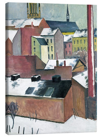 Lærredsbillede  The Church of St Mary in Bonn in Snow - August Macke